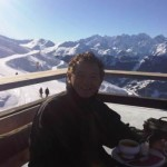 Jerry eating in Verbier, Swiss Alps